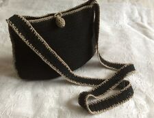 Crochet Knit Cross Over Long Strap Cotton Mix  Black Beige Trim Pouch Handbag