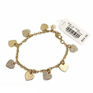 "NWT J. Crew Charm Bracelet 6.75"" Hearts Crystals Cubic Zirconia"