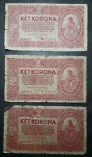 Lot of 3 Hungary paper money 2 Korona 1920