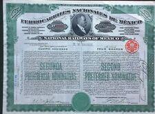 Mexico Mexican 1909 Ferrocarriles Nacionales Railways 4 Shares UNC Loan Bond