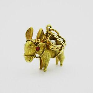 Fabulous 18k Gold Large Donkey Charm Or Pendant. 5.4 Grams.