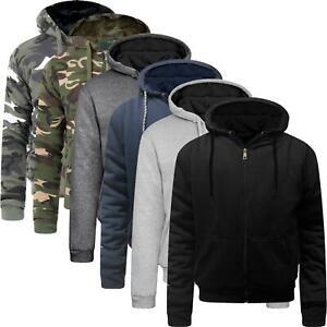Mens Sherpa Fleece Fur Lined Borg Hoodie Winter Jacket Work Wear Top Hooded