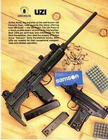 1985 Print Ad of Action Arms UZI Carbine & IMI Israel Pistol