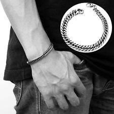 Heavy Titanium Stainless Steel Curb Chain Link Wristband Bracelet Men's Bangle