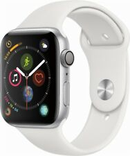 NEW! Apple Watch Series 4 44 MM Silver Aluminum Case w/White Sport Band (GPS)