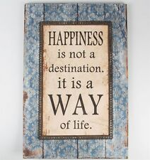 Sass & Belle Happiness Is A Way Of Life Wall Plaque Hanging Wooden Saying Boho