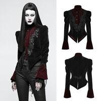 Punk Rave Womens Gothic Jacket Black Red Velvet Steampunk Victorian Y-769
