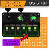 Car Marine Boat 6-Gang Waterproof Circuit Green LEDs Rocker Switch Panel Breaker