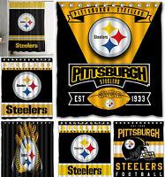 Pittsburgh Steelers Waterproof Shower Curtain W/12 Hooks Bathroom Decor Gifts
