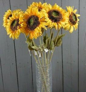 Artificial Sunflowers - 6 Realistic 64cm Sunflower Stems