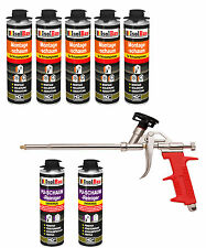 Pistolenschaum 5 x 500 ml + 1 Metall Schaumpistole +2 PU Reiniger Montageschaum