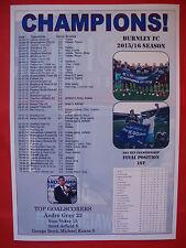 Burnley FC Championship champions 2016 - souvenir print