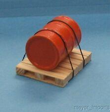 Pallet w/ Industrial Oil Barrel - Orange Barrel- G Scale- 101-0023