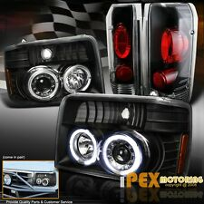 1992-1996 Ford F150 F250 Bronce Halo Projector Black Headlights + Tail Lights
