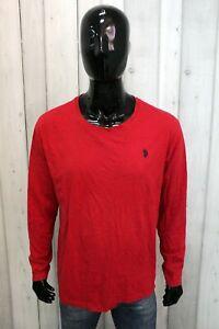 Maglia US Polo Assn Uomo Taglia 2XL Rosso T-shirt Cotone Maglietta Manica Lunga