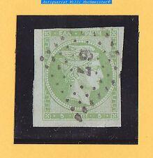 Alt Griechenland-Königreich-Hermeskopf-5 Lepta-1861-gelbgrün-wohl Mi.11Ic-gebr.