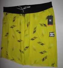 DC Shoes Men's 38 Deluxe Dobby Stretch Flash Black Yellow Surf Board Shorts