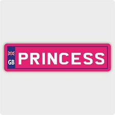 PRINCESS NUMBER PLATE STICKER - NOVELTY GB TOY RIDE ON CAR  VINYL DECAL