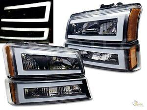 Black LED Bar Headlights Bumper Lights 03-06 Chevrolet Silverado 1500 2500 3500