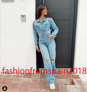 ZARA NEW WOMAN LONG RIPPED DENIM JUMPSUIT BLUE XS-XL 8197/087