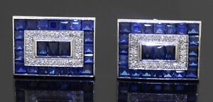 Heavy 14K white gold 11.68CTW VS diamond & Blue sapphire cluster cufflinks