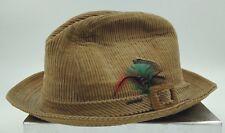 Vintage Men's STETSON Fedora Gangster Khaki Beige Corduroy Hat w/ Feather 7 1/8