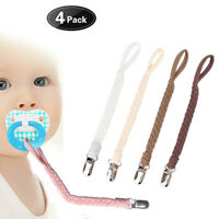 Pacifier Clip Baby Holder Leash Teething Toy By Hand-Made Braided Securing Clips