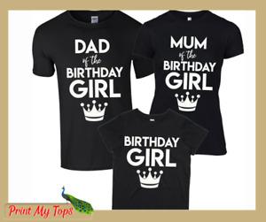 Personalised Matching Family Birthday Girl Boy Ladies Mens T-Shirts Mum Dad