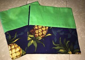 pillow case handmade  standard Navy Blue / Lime Cuff 20 X 32  Pair