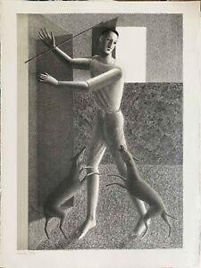 RODOLFO  MELI  litografia Ragazzo con 2 cani  80x60 firmata numerata