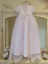 NEW OLD FASHIONED WHITE CHRISTENING GOWN + BONNET + FREE BOX 3 6 9 12 15 18 M
