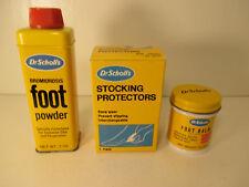 VINTAGE Dr. Scholl's Lot (3) foot powder, FOOT BALM, & STOCKING PROTECTORS LQQK!
