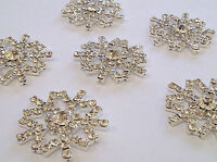 Stick On Metal Diamante SNOWFLAKE Wedding Invitation Card Making Crystal Topper