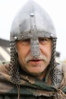 Steel spartan gladietor barbute Norman Nasal Helmet with Chain Mail roman Helmet