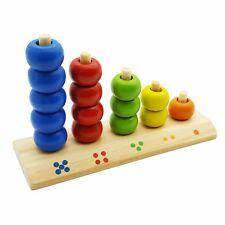 Wooden Counting Numbers Stacking Rings Activity Wood Tower Kids Educational Toy