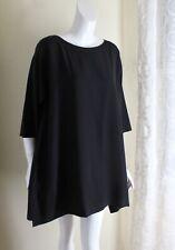 Eskandar Sz 1 BLACK S/S Flowing Luxury Exquisite Long Silk Tunic Shirt Top