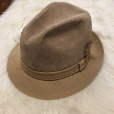 Vintage STETSON Men's Tan Beige Homburg Fedora Suede Hat Feather Size 7
