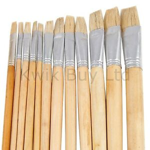 12 Pc Artist Quality Natural Wooden Brushes Paint Long Brush Set Flat & Pointed