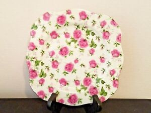 """White Porcelain Plate Pink Rose Chinz 8"""" Square"""