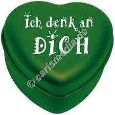 Kerzendose in Herzform: ICH DENK AN DICH - Metalldose,  Farbe grün *NEU*