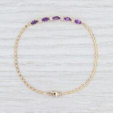 "Amethyst Diamond Bracelet 14k Yellow Gold Bismark Chain 7"""