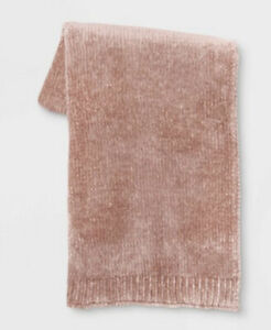 """50""""x60"""" Shiny Chenille Throw Blanket - Project 62™ Blush Pink Soft Thick"""