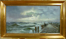 UNINDENTIFIED ARTIST! EVENING SCENERY FROM THE PIER OF HORNBAEK - DK. NO RESERVE