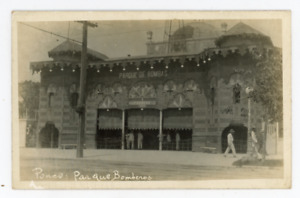 old Ponce Puerto Rico photo postcard, Parque Bomberos, firemen, fire station