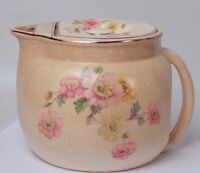Pitcher With Lid Crooksville Bak-in Pink and Yellow Floral 1920s Platinum Edge