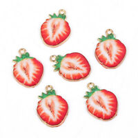 10Pcs Enamel Strawberry Shape Charm Pendant DIY Necklace/Bracelet Making Gift