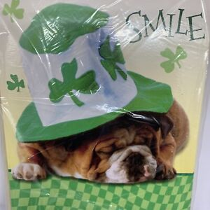 St. Patrick's Dog Hat Clover Smile Greeting Cards Set of 6 Sealed Bulldog