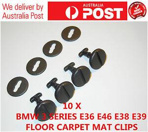 10 X BMW 3 5 7 SERIES CARPET MAT CLIPS E36 E46 E38 E39  TWIST LOCK WITH WASHERS