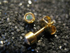 3mm RAINBOW CRYSTAL/Aurora Borealis PIERCING Studs Earrings GOLD - STERILIZED