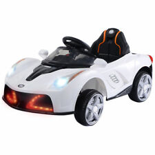 12V Battery Powered Kids Ride On Car RC Remote Control w/ LED Lights Music White